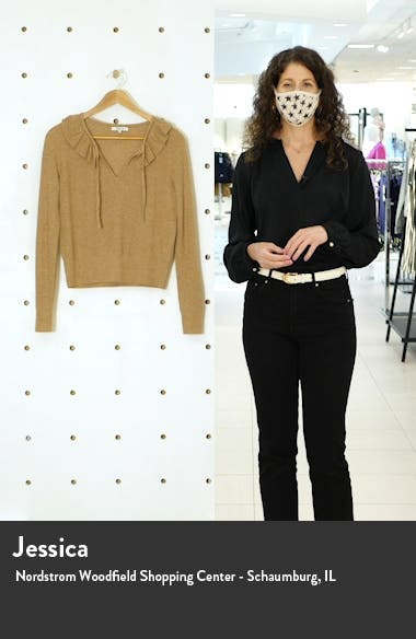 Tie Neck Ruffle Pullover Sweater, sales video thumbnail