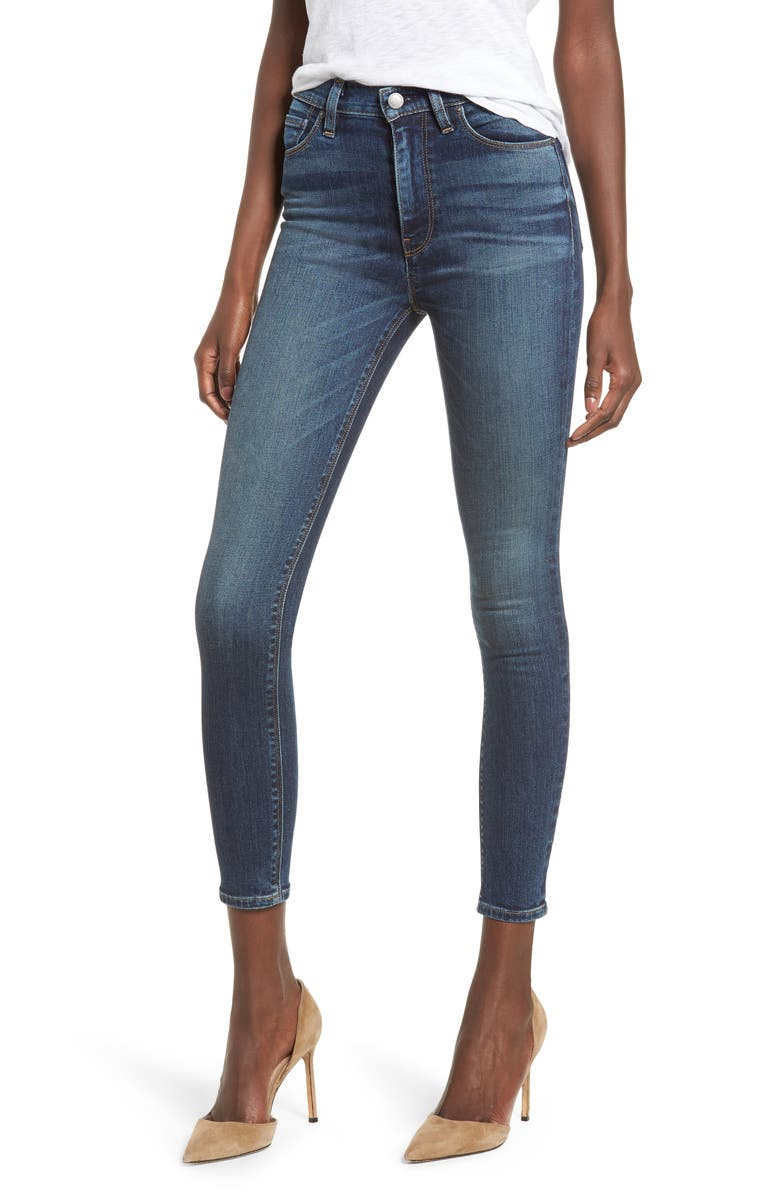 Barbara High Waist Ankle Skinny Jeans, Main, color, CLEAN SIDE BAR