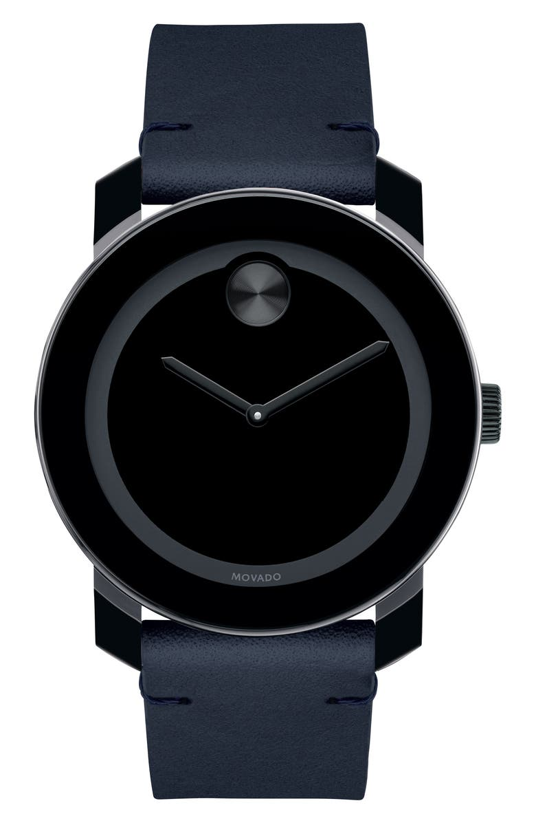 MOVADO 'Bold' Leather Strap Watch, 42mm, Main, color, NAVY/ BLACK