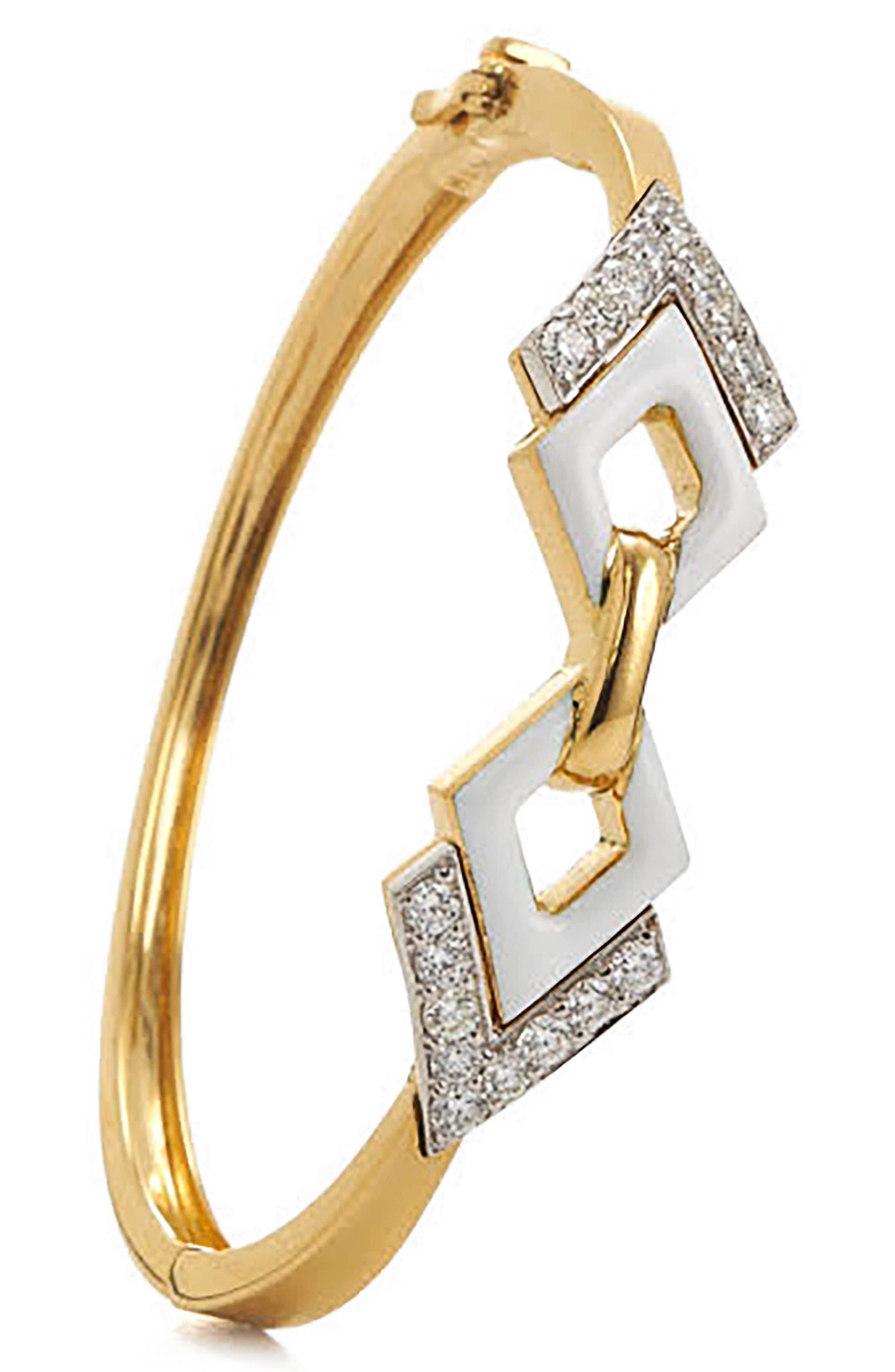 Motif Double Diamond Bangle