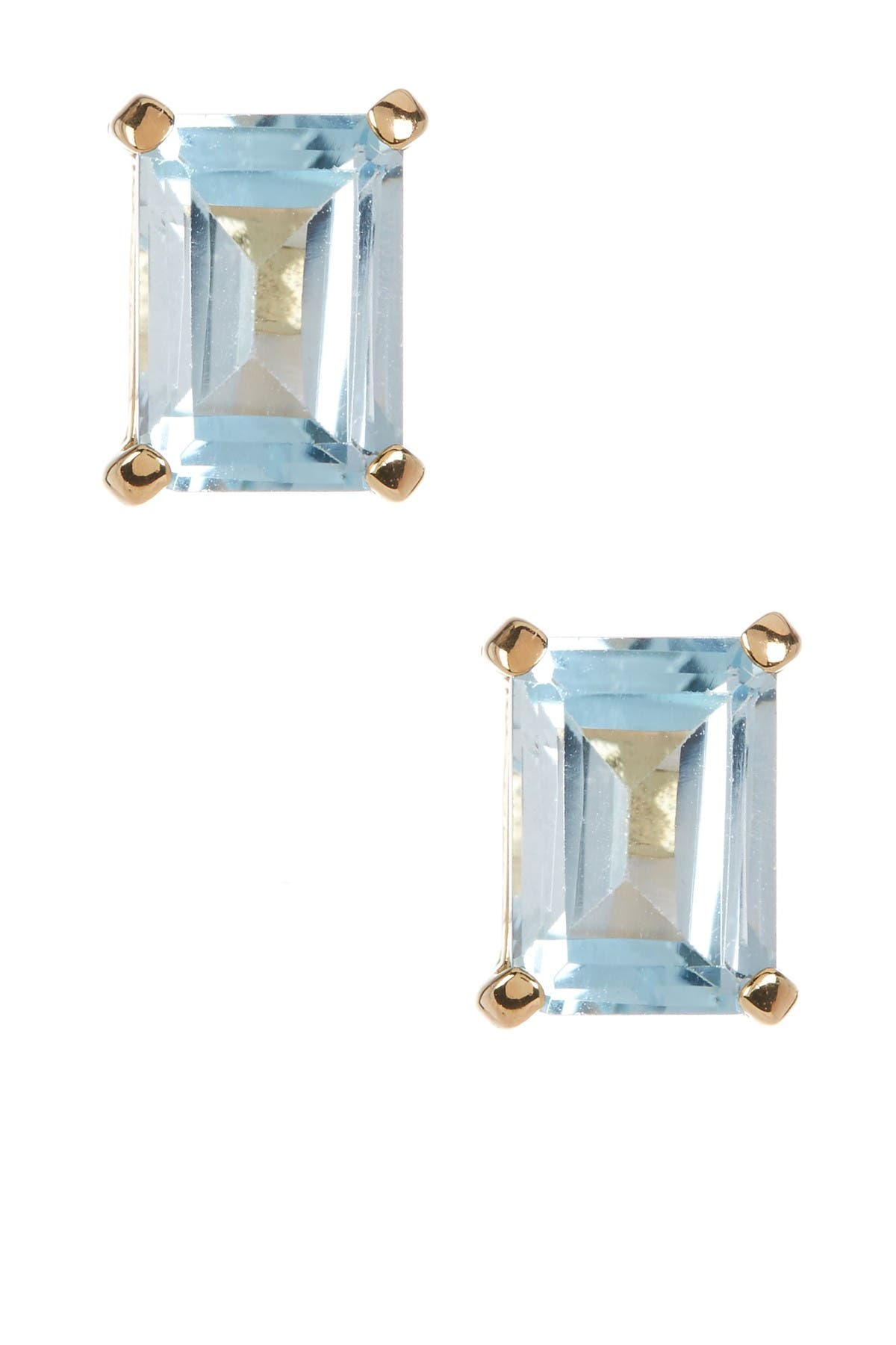 Image of Savvy Cie 18K Yellow Gold Vermeil Emerald-Cut Sky Blue Topaz Stud Earrings