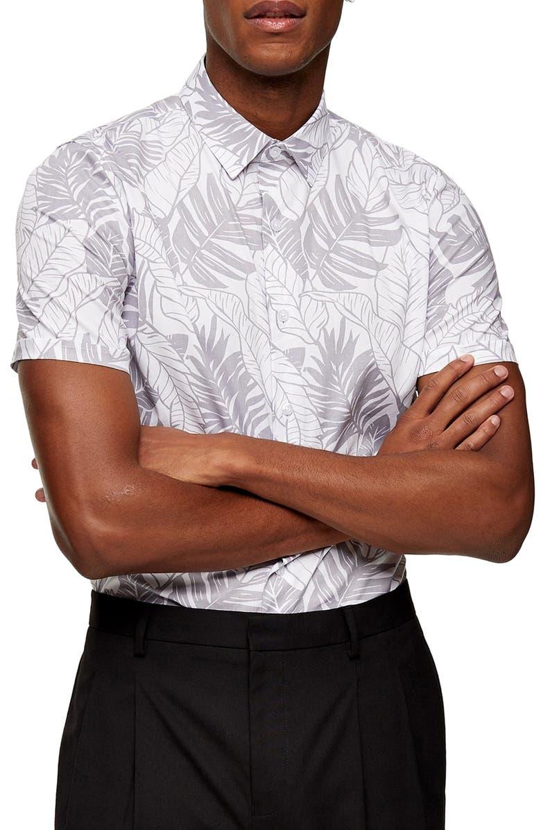 TOPMAN Leaf Print Short Sleeve Button-Up Shirt, Main, color, 020