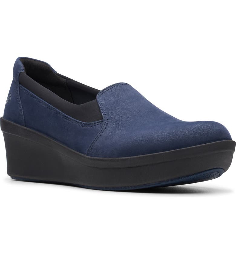 CLARKS<SUP>®</SUP> Step Rose Moon Wedge Loafer, Main, color, NAVY FABRIC
