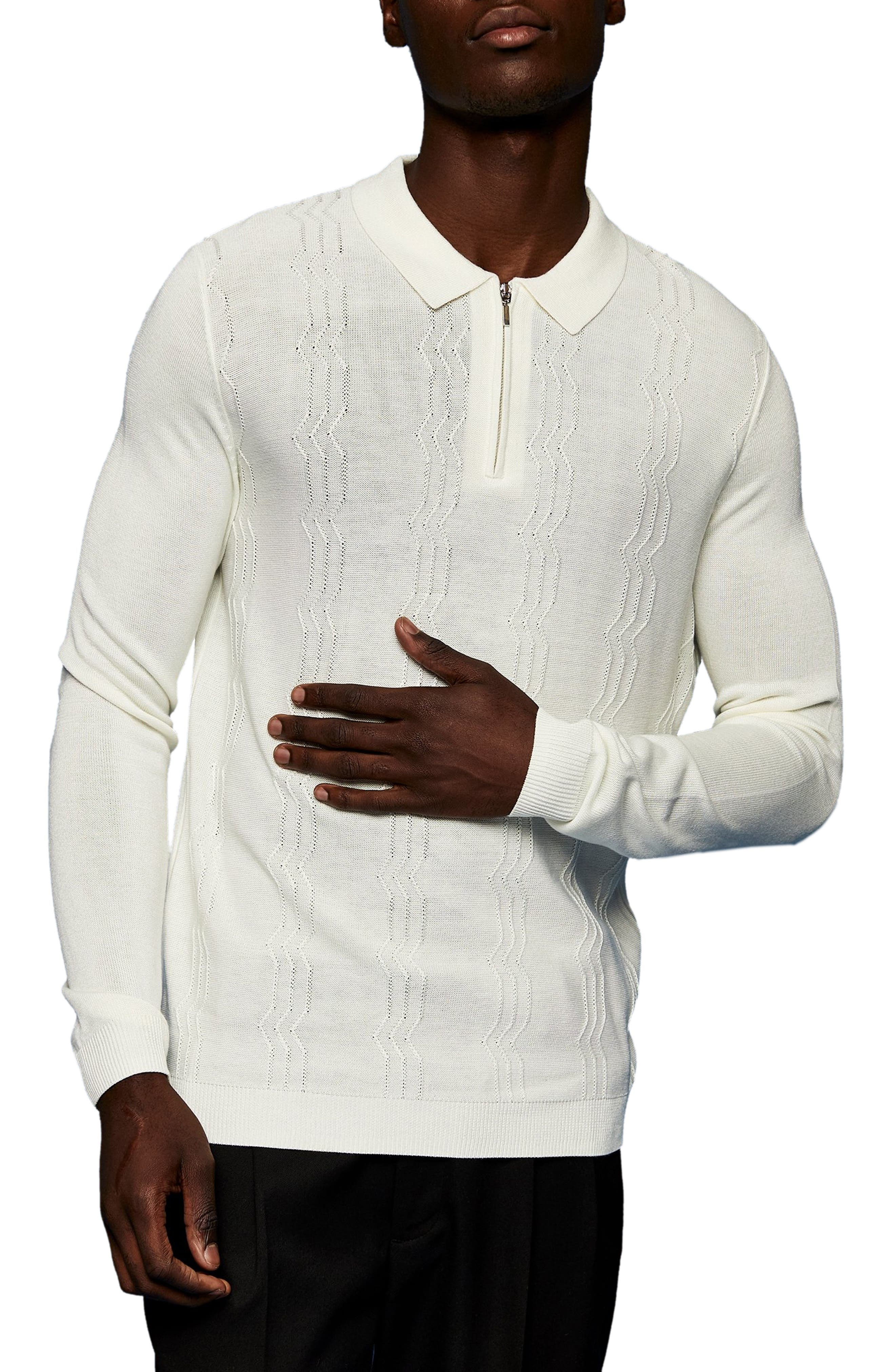 1930s Mens Shirts   Dress Shirts, Polo Shirts, Work Shirts Mens Topman Zigzag Knit Long Sleeve Polo Size XX-Small - Ivory $55.00 AT vintagedancer.com
