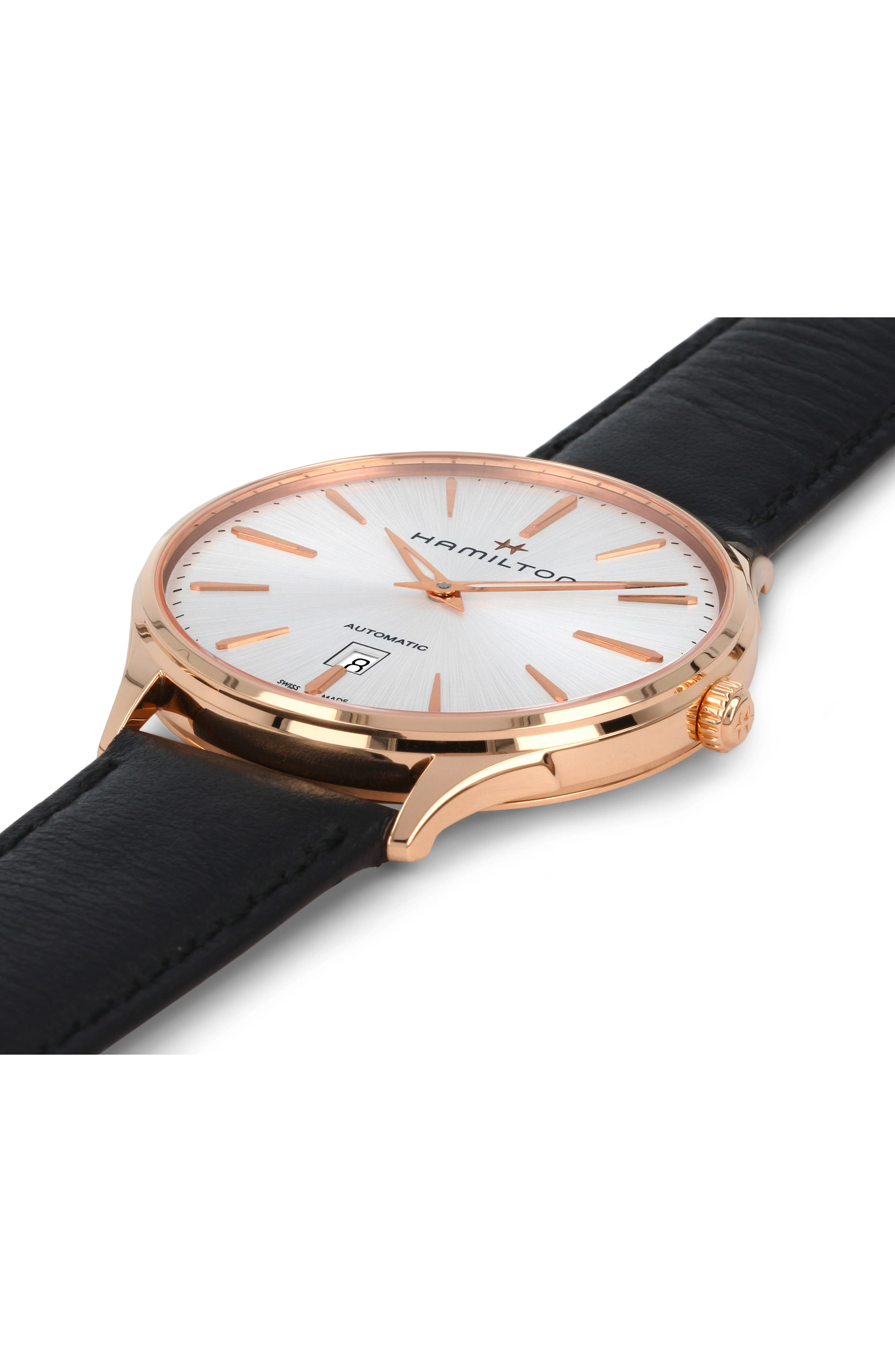 ,                             Jazzmaster Thinline 18K Gold Automatic Leather Strap Watch, 40mm,                             Alternate thumbnail 3, color,                             001