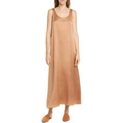 Eileen Fisher Scoop Neck Silk Dress, Orange