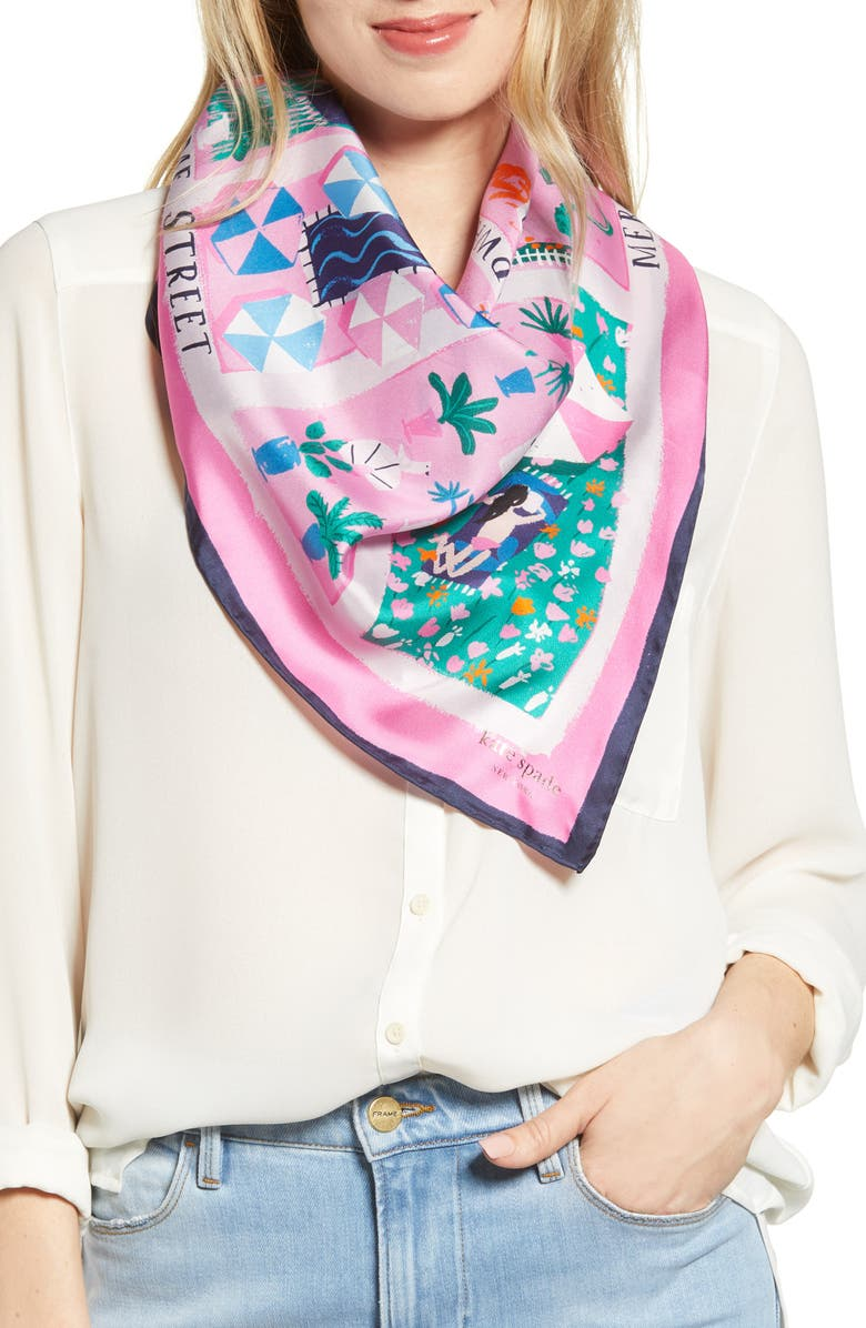 KATE SPADE NEW YORK rooftop scene square silk scarf, Main, color, 670