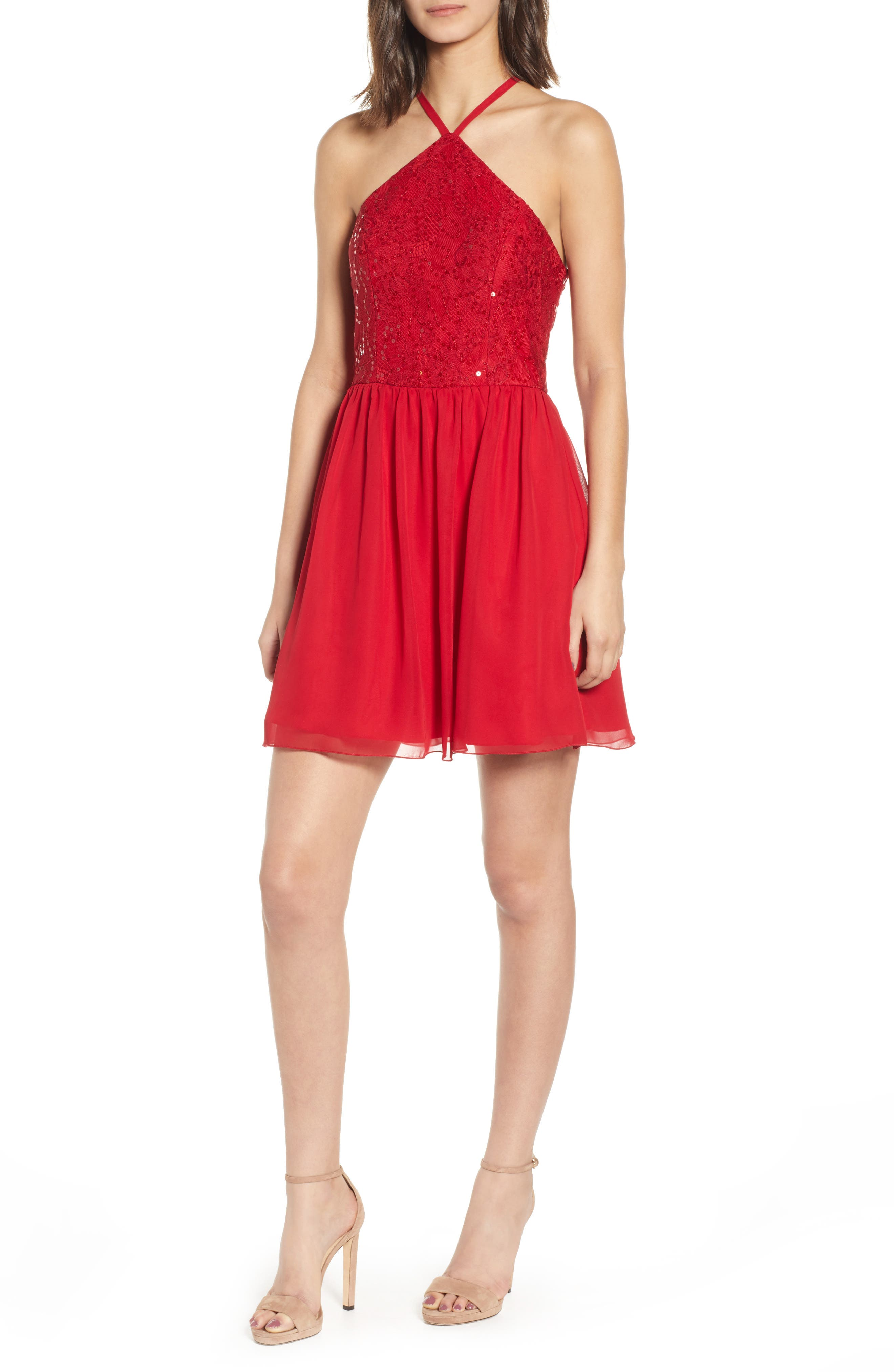 Speechless Halter Party Dress, Red