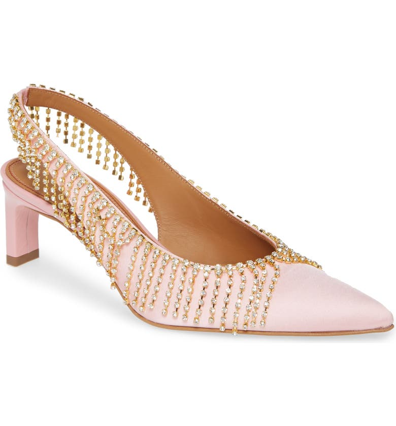 AREA Crystal Fringe Slingback Pump, Main, color, ROSE