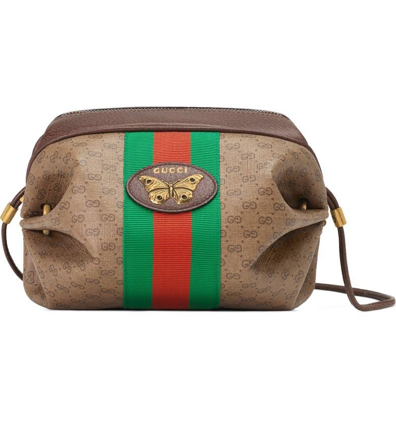 GUCCI New Candy GG Supreme Canvas Mini Crossbody Bag, Main, color, BEIGE EBONY/ NEW ACERO