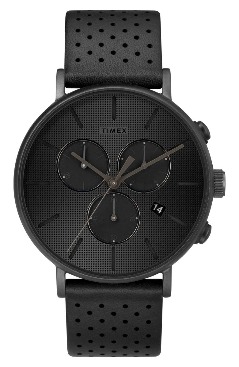 TIMEX<SUP>®</SUP> Fairfield Chronograph Leather Strap Watch, 41mm, Main, color, BLACK