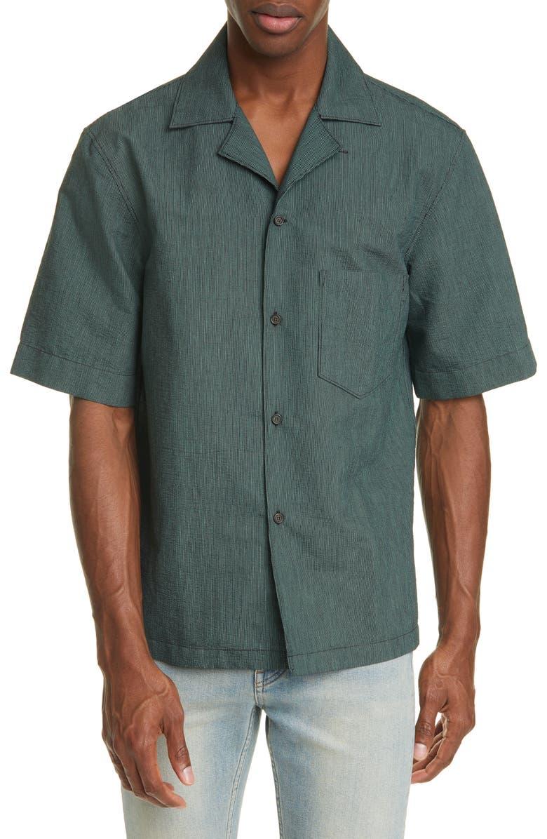 ACNE STUDIOS Simon Stripe Short Sleeve Button-Up Camp Shirt, Main, color, BLACK/GREEN