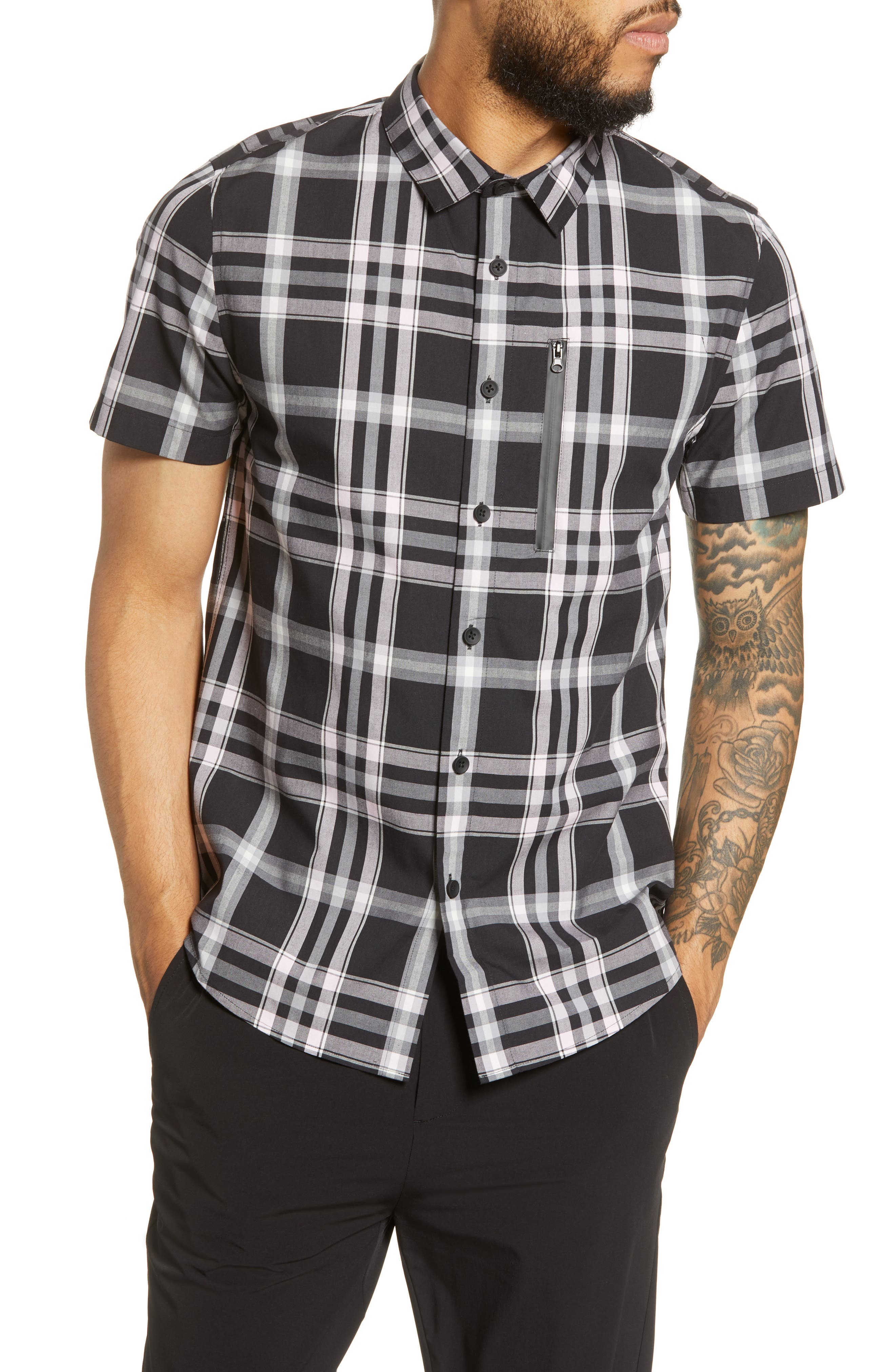 River Stone Slim Fit Plaid Short Sleeve Button-Up Sport Shirt, Black