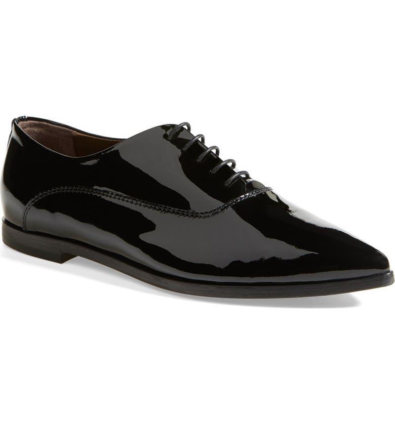 AGL Attilio Giusti Leombruni Patent Leather Pointy Toe Oxford, Main, color, 001