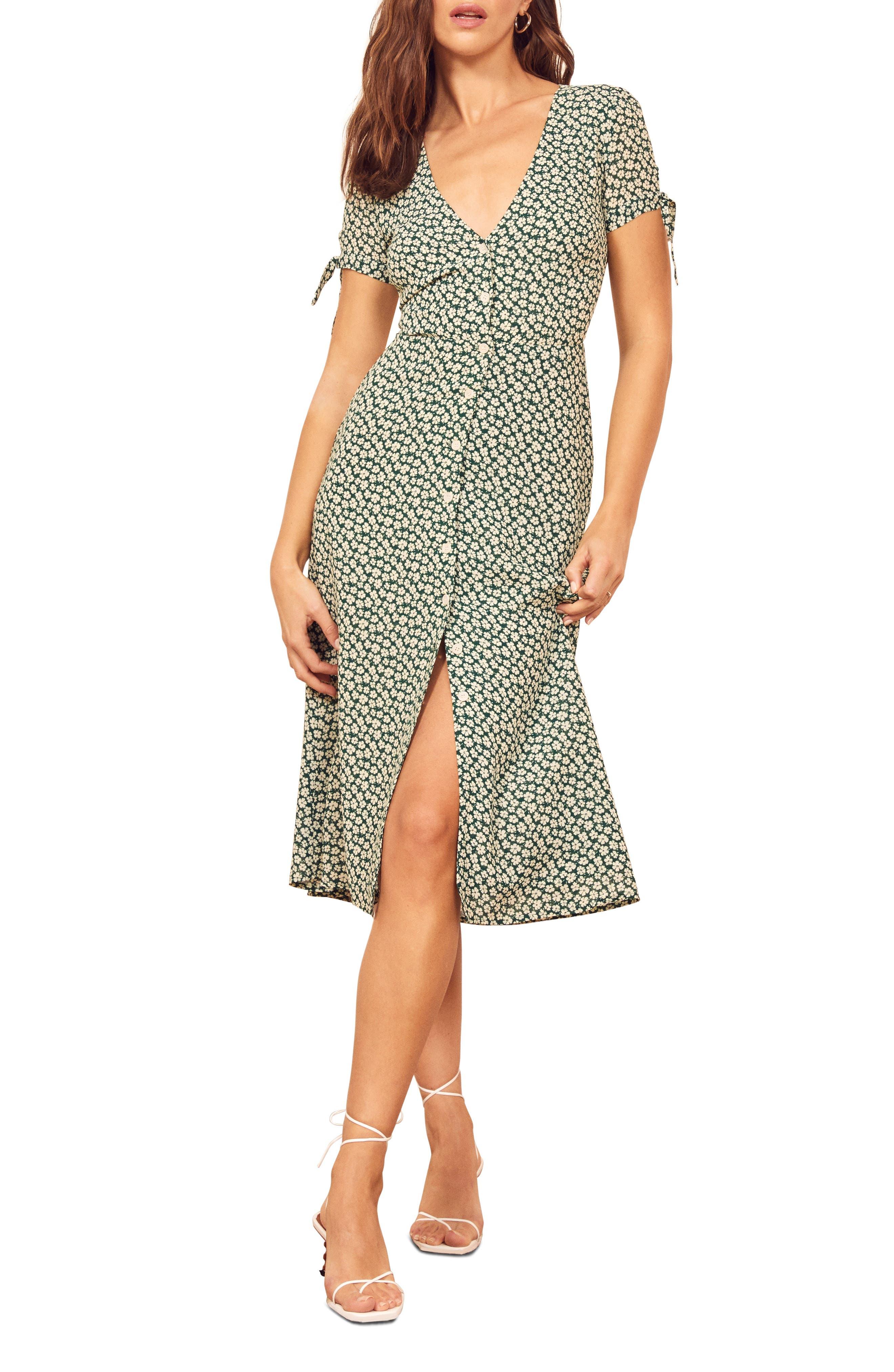 Reformation Rosalinda Floral Tie Sleeve Dress, Green