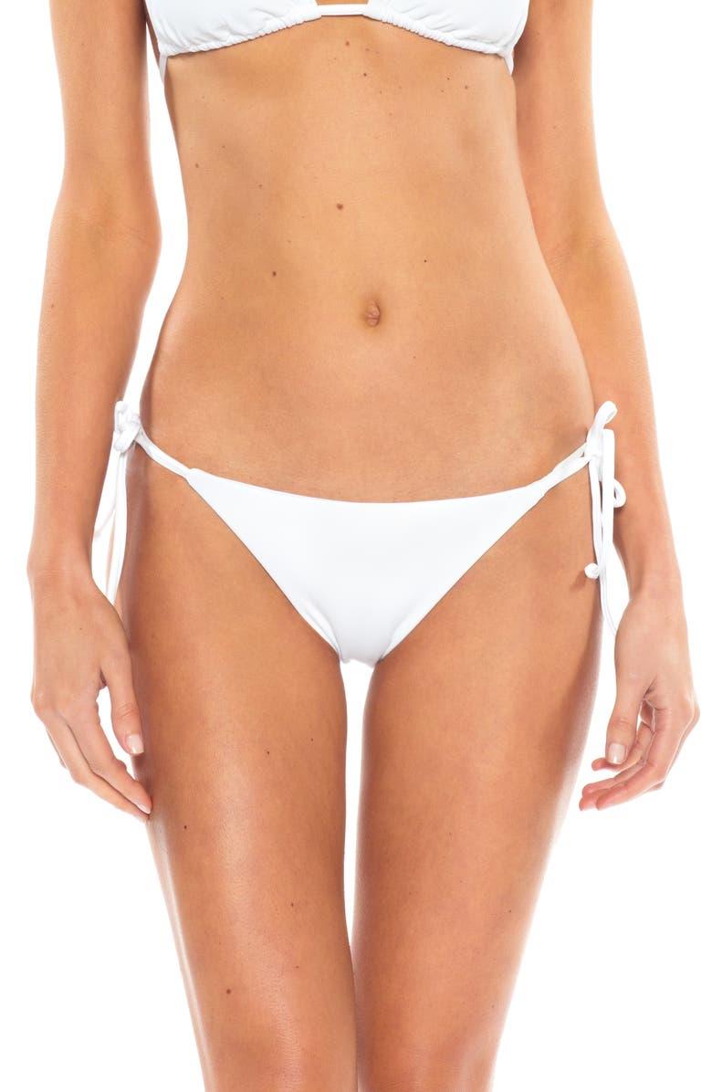 BECCA Color Code Side Tie Bikini Bottoms, Main, color, WHITE