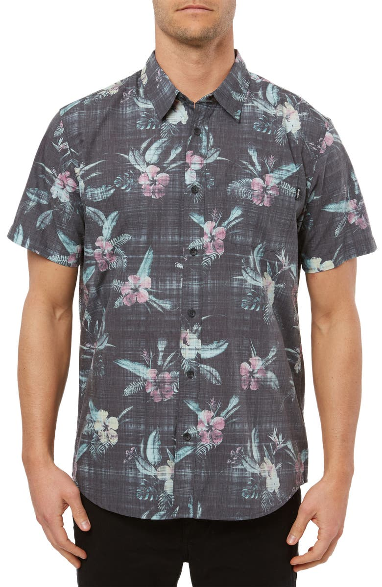 O'NEILL Fiiore Floral Print Short Sleeve Button-Up Shirt, Main, color, BLACK