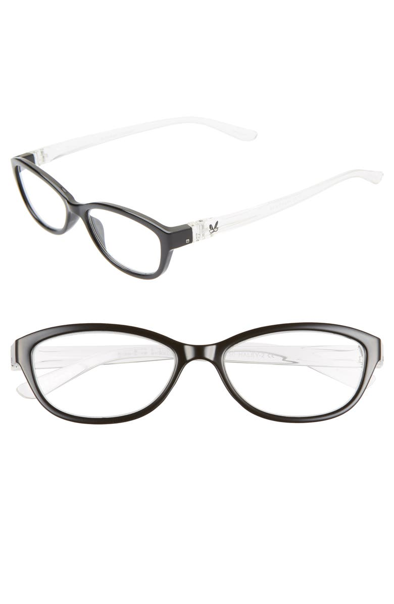BUNNY EYEZ The Haley 48mm Oval Reading Glasses, Main, color, BLACK/ CRYSTAL