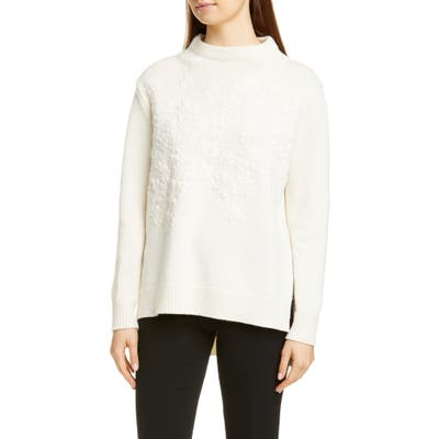 Lela Rose Embroidered Floral Wool & Cashmere Sweater, Ivory