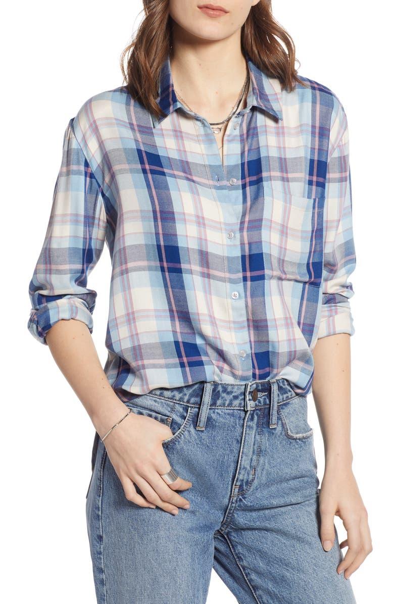 TREASURE & BOND Lightweight Boyfriend Shirt, Main, color, BLUE- PURPLE BORDER PLAID
