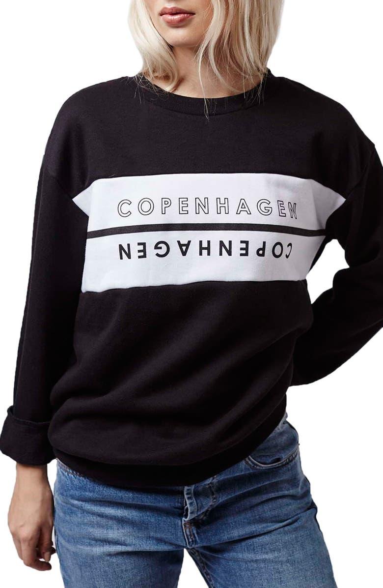 TOPSHOP Copenhagen Sweatshirt, Main, color, BLACK MULTI