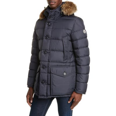 Moncler Cluny Down Parka With Genuine Fur Trim Hood, Blue
