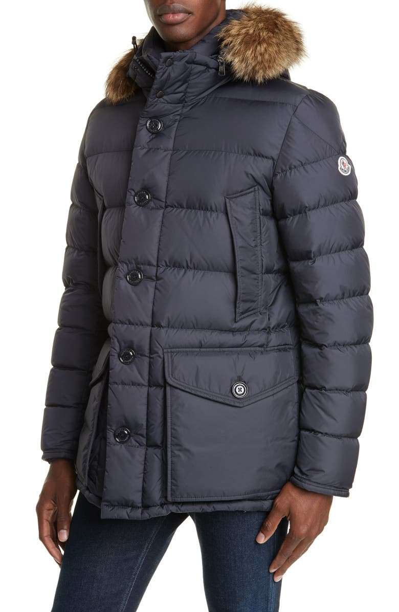 MONCLER Cluny Down Parka with Genuine Fur Trim Hood, Main, color, NAVY