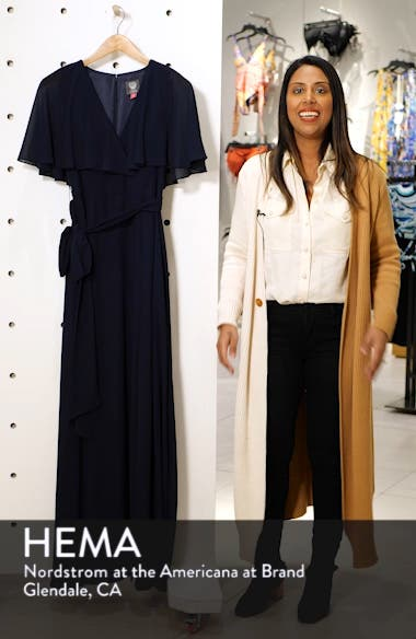 V-Neck Faux Wrap Chiffon Gown, sales video thumbnail