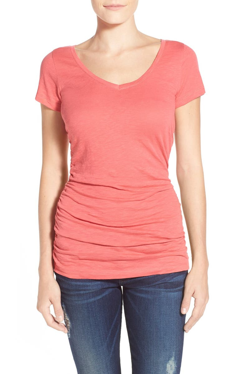 CASLON<SUP>®</SUP> Shirred V-Neck Tee, Main, color, RED CHATEAUX