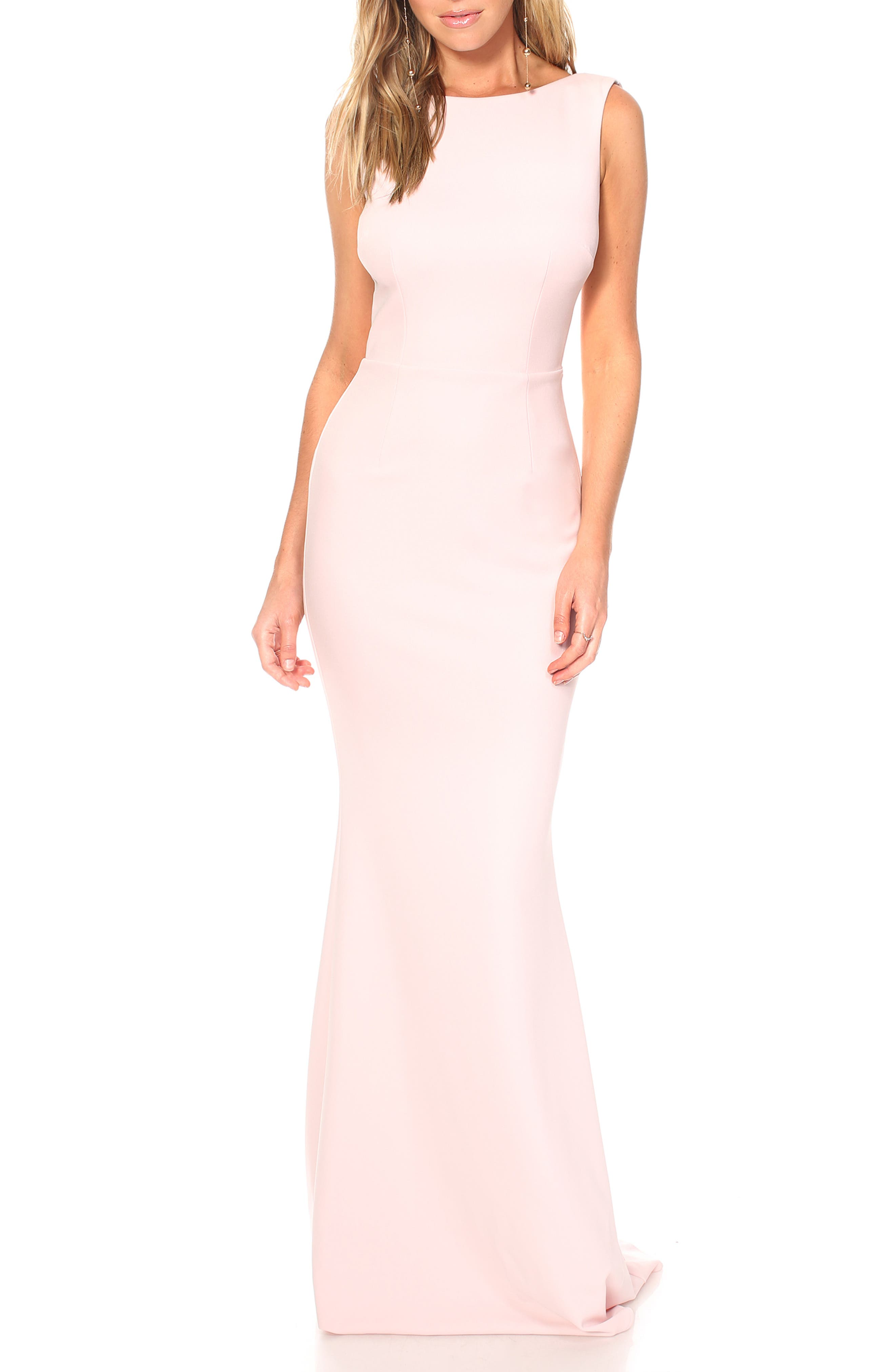 Katie May Vionnet Drape Back Crepe Gown, Pink