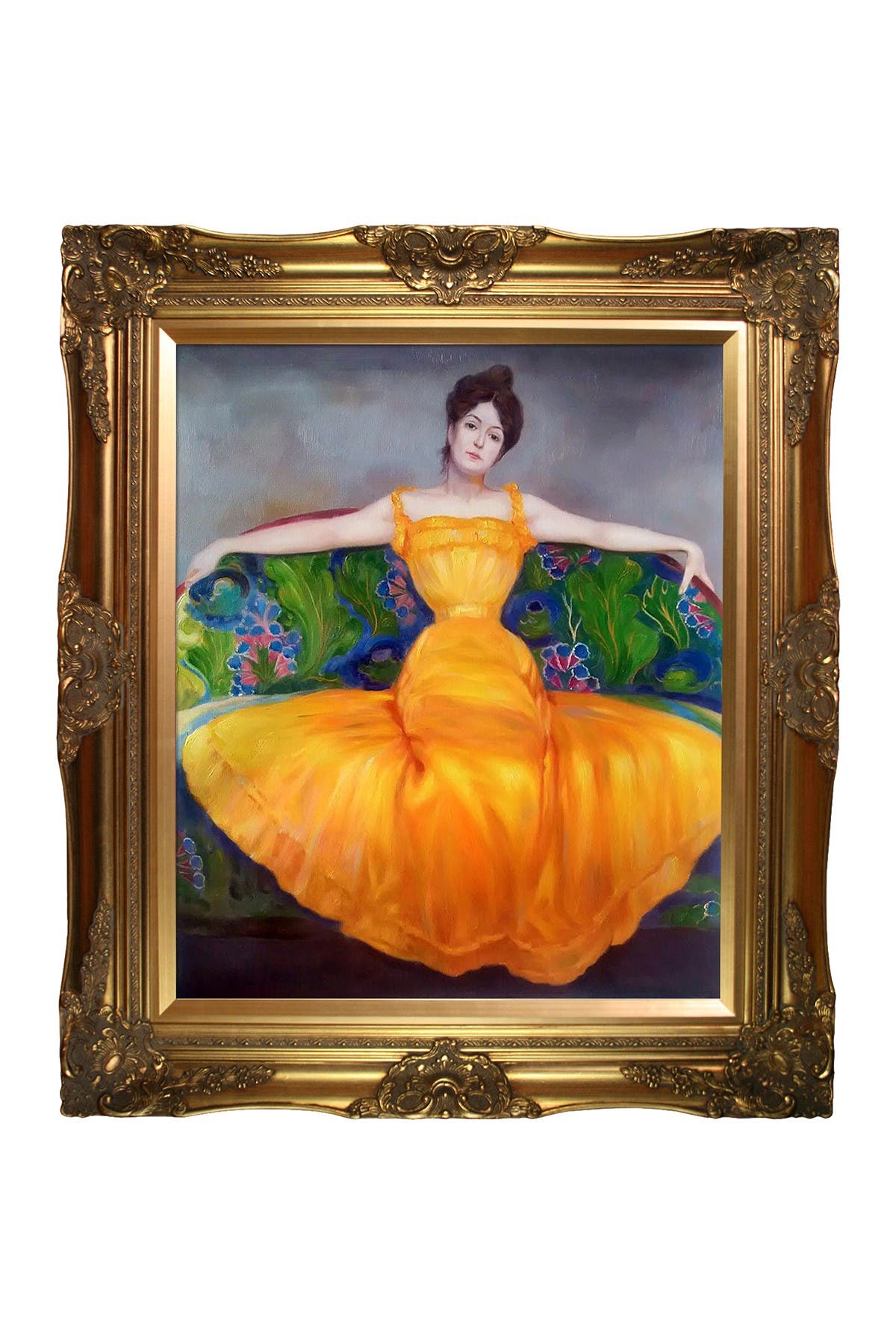 """Image of Overstock Art Lady in Yellow Dress with Victorian Gold Frame - 28"""" x 32"""""""