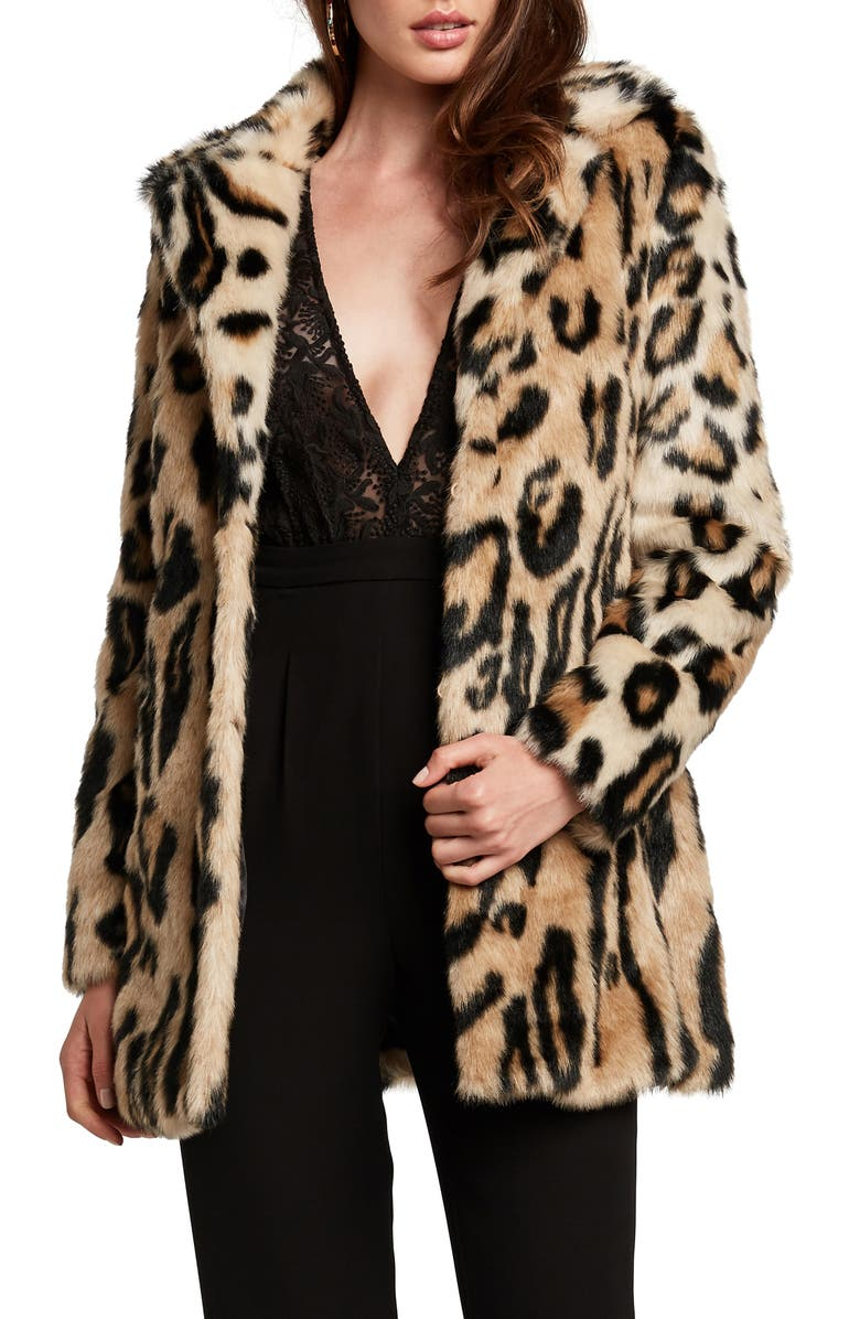 BARDOT Animal Leopard Faux Fur Coat, Main, color, 250
