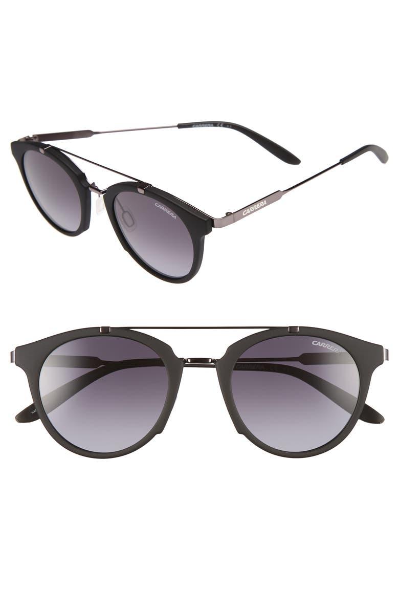 CARRERA EYEWEAR Retro 49mm Sunglasses, Main, color, BLACK DARK RUTH