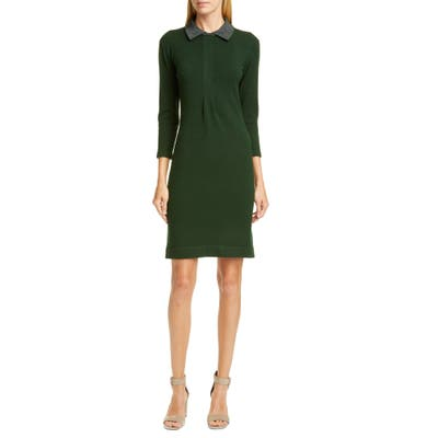 Fabiana Filippi Metallic Collar Knit Dress, 8 IT - Green
