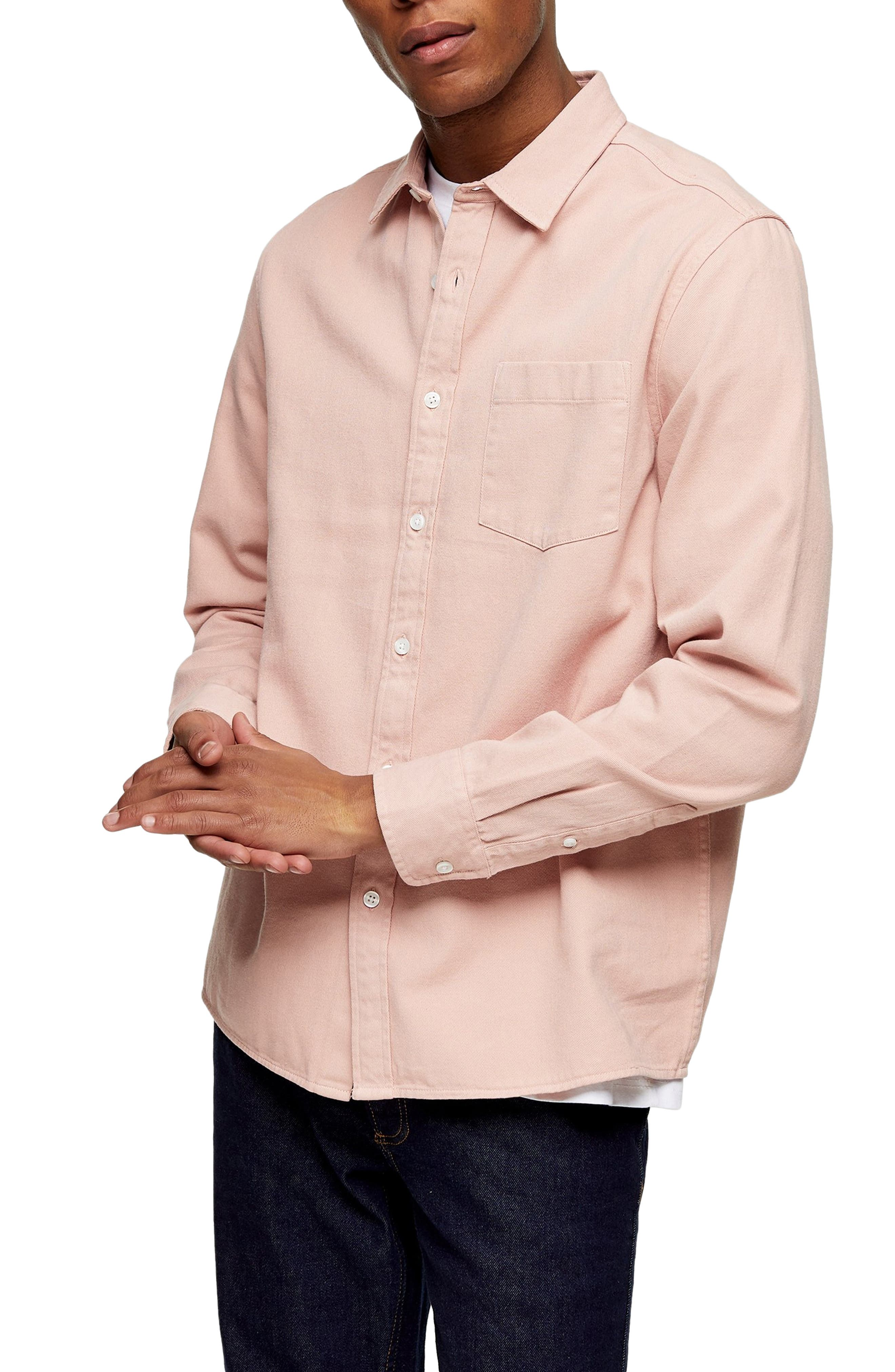 Image of TOPMAN Twill Slim Fit Button-Up Shirt