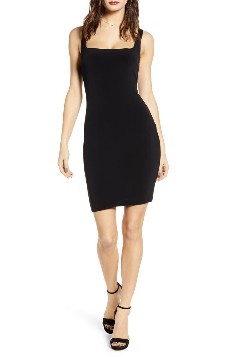 LEITH Square Neck Body-Con Minidress, Main, color, 001