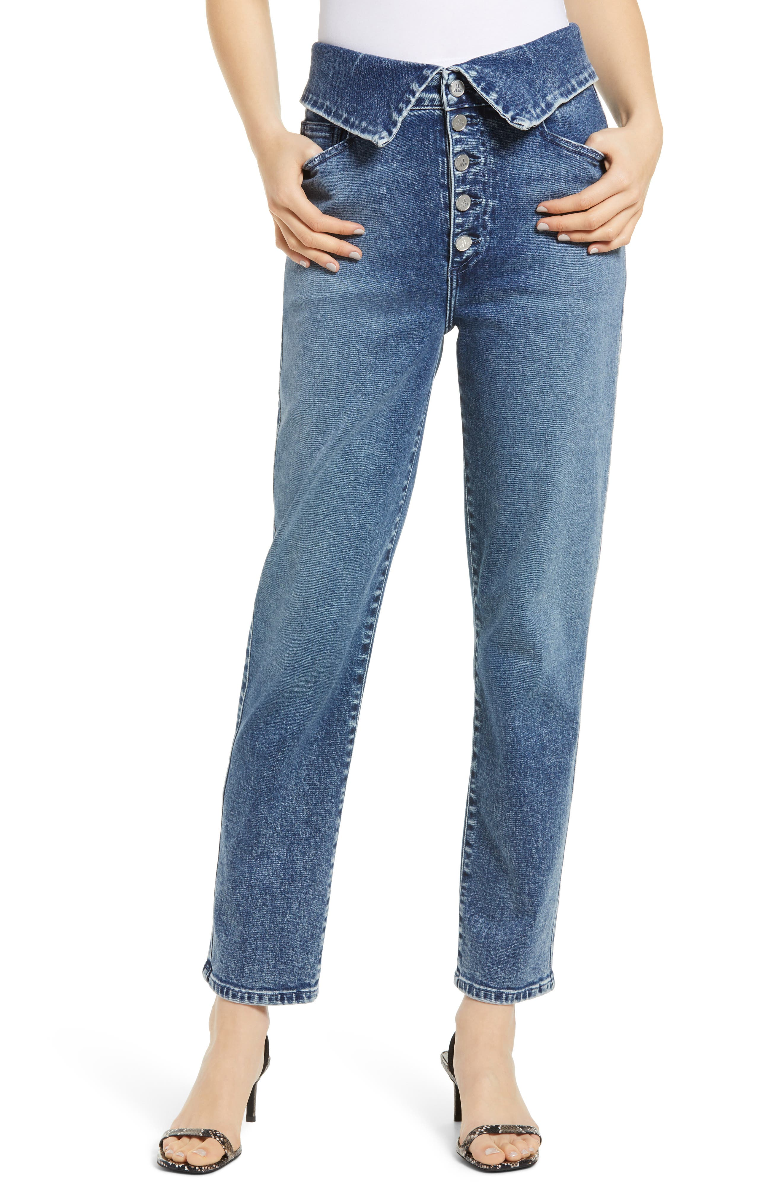 Valentina Button Fly Foldover Waist Ankle Straight Jeans