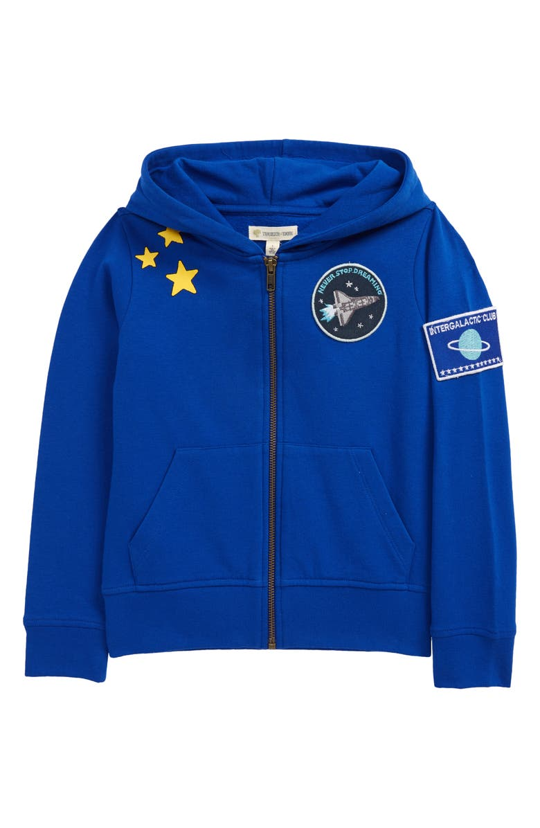 TUCKER + TATE x Smithsonian Kids' Graphic Fleece Zip Hoodie, Main, color, BLUE SURF SPACE PATCHES