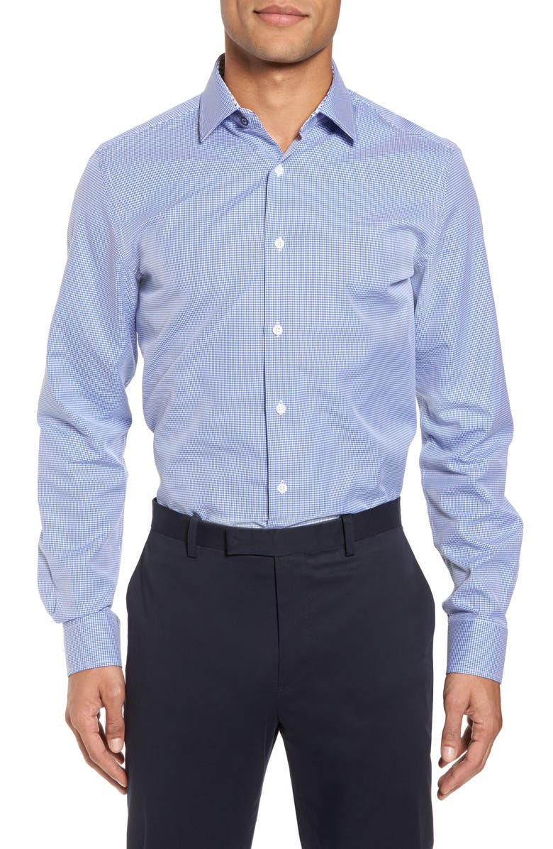 DUCHAMP Trim Fit Dot Dress Shirt, Main, color, BLUE