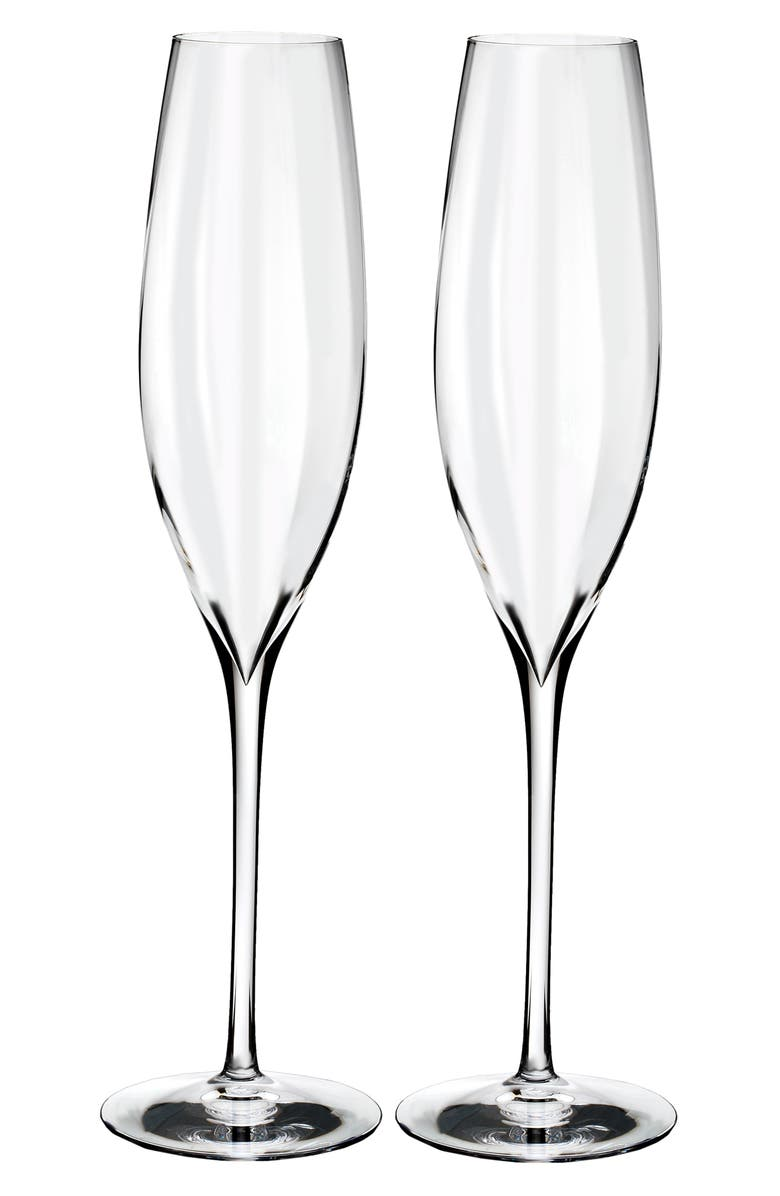 WATERFORD Elegance Optic Classic Set of 2 Lead Crystal Champagne Flutes, Main, color, 100
