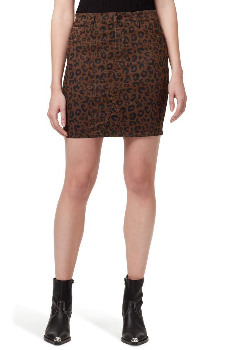 SANCTUARY Sia Leopard Print Denim Miniskirt, Main, color, LEOPARD