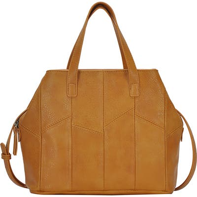 Antik Kraft Patchwork Faux Leather Satchel - Yellow