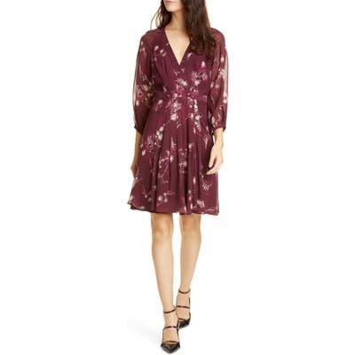 Joie Korel Floral Mock Wrap Silk Dress, Purple