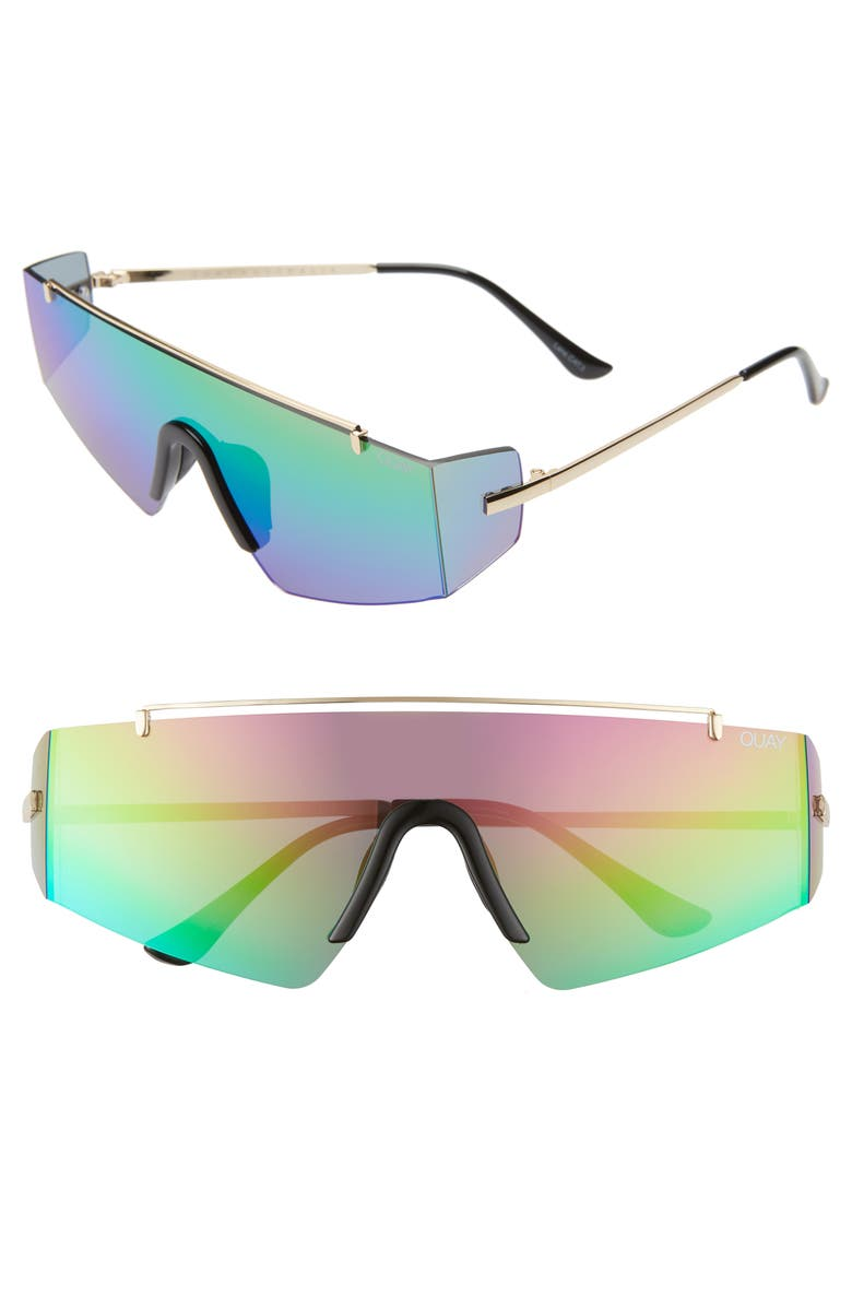 QUAY AUSTRALIA x Lizzo Transcend 141mm Shield Sunglasses, Main, color, GOLD/ RAINBOW