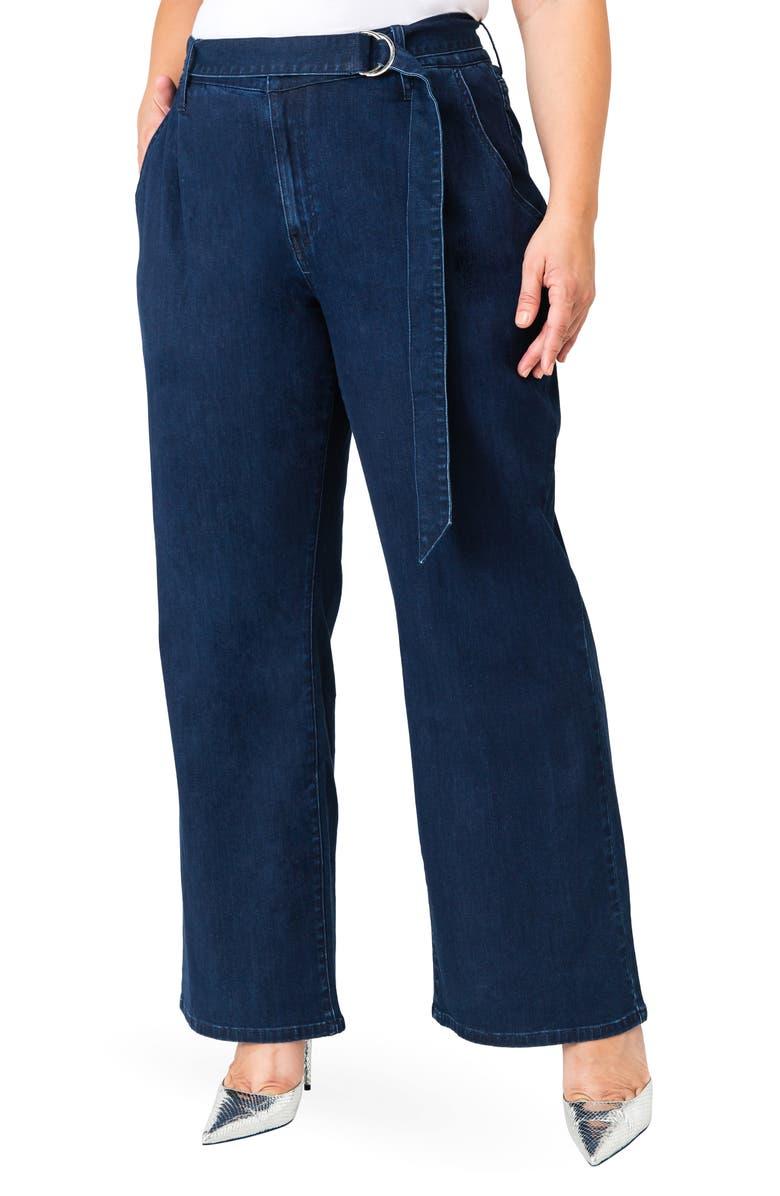 STANDARDS & PRACTICES Zahra Belted Denim Pants, Main, color, NAVY