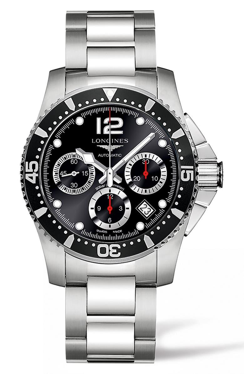 LONGINES HydroConquest Automatic Bracelet Watch, 41mm, Main, color, SILVER/ BLACK/ SILVER