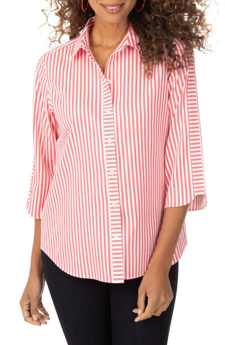 FOXCROFT Non-Iron Mai Tai Stripe Button-Up Shirt, Main, color, MAI TAI