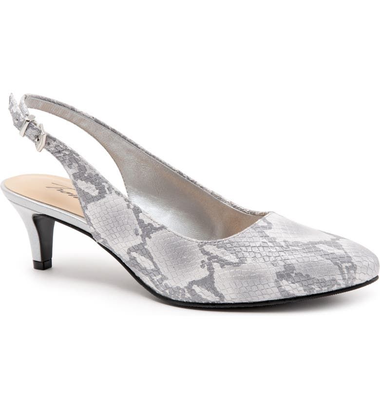 TROTTERS Keely Slingback Pump, Main, color, GREY PRINT LEATHER