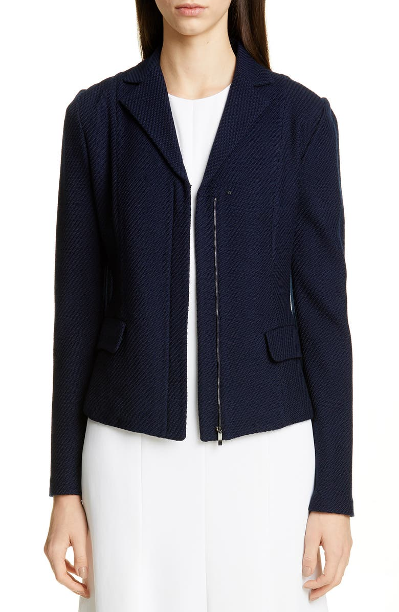 ST. JOHN COLLECTION Sarga Knit Twill Zip Front Jacket, Main, color, NAVY
