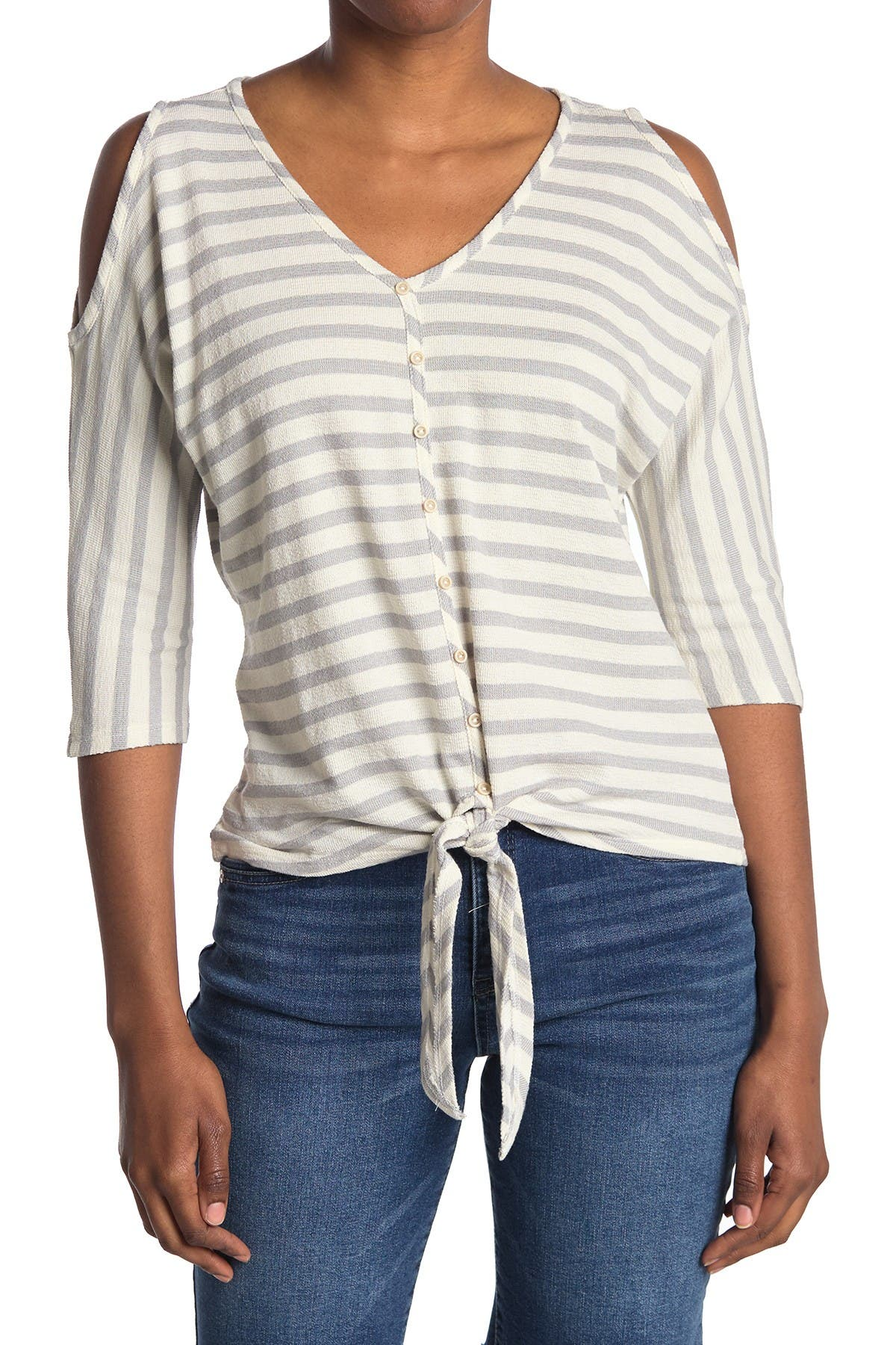 Image of Democracy Cold Shoulder Button Up Top